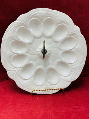 Devilled Egg Tray, USA.  Creamware. Holds 12 Devilled eggs.