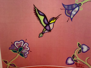 Print. Ojibwe.  Woodland Style.  Hummingbird with Trumpet Flowers.  By. Jenner Tauch Kwe