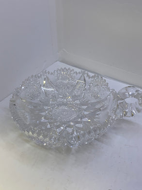 Pressed Glass. American Brilliant Period-  Fruit Nappies with Handle