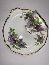 Load image into Gallery viewer, Salisbury, England. Teacup and snack plate. Purple Lilacs