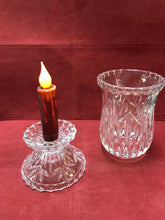 "Load image into Gallery viewer, 2 pc Candle Stick Holder, Crystal, Hurricane Style, 7-1/2"" high"