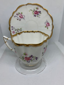 Victoria, England. Cup and Saucer.  Large Pink Roses