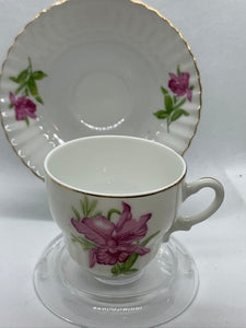 Japan, Demitasse Cup and Saucer. Purple Orchid. Demitasse Cup and Saucer