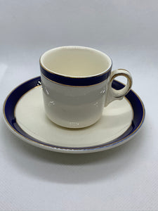 Alfred Meakin, England. Bleu de Roi. White/Cobalt/Gold. Demitasse Cup and Saucer