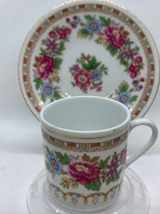 China. Demitasse Cup and Saucer. Wild Pink Roses/ Blue Flowers with Brown.
