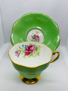 Foley. England. Cup and Saucer.  Green with Pink Roses and mixed floral.