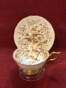 Coalport, England. Cup and Saucer. Bird of Paradise, White/Gold