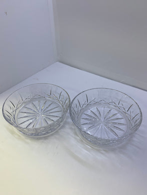 Crystal. Unmarked. Cross and Olive Pattern.  Fruit Nappies/ Salad Bowl