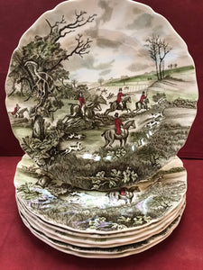 "Johnson Brothers, Tally Ho, Dinner Plates, ""The Jump"""