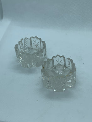 Salt Cellars, unknown maker,  cut glass.  Pair of salt cellars