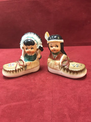 Salt and Pepper Shakers. Japan.  Vintage.  Child Dress Up,  Native Theme.