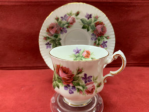 Paragon, England. Cup and Saucer, Large Pink Roses