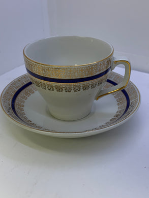 Cup and saucer- Wood and Sons. England.  White/Cobalt Blue and Gold