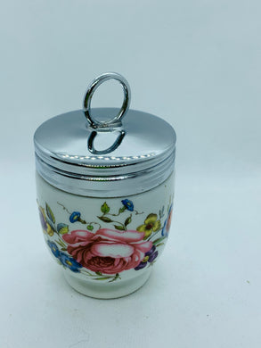 Egg Coddler.  England. Porcelain and chrome. Pink Roses