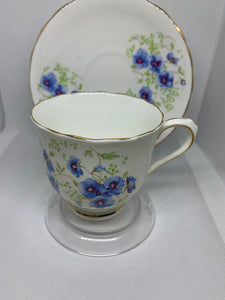 Victoria. England. Cup and Saucer.  Blue Pansies