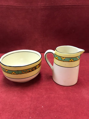 Cream and Sugar, England, Creamware/yellow/floral