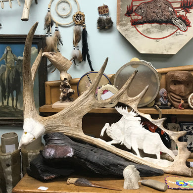 Moose Antler Carving By Angus Burns, Bull Moose in Rut  IN STORE PICK UP ONLY