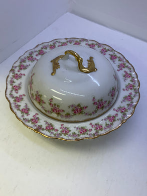 Limoges. Elite Works. France.  Bridal Rose.  Covered Butter Dish. RARE