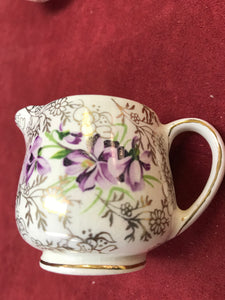 James Kent Ltd, England. Cream and sugar. Gold Chintz/Violets