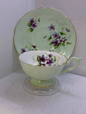 Heathcote. England. Cup and Saucer.  Purple Violets with mint green background.