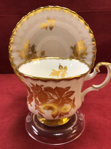 Royal Albert, England, Cup and Saucer,  White with Gold