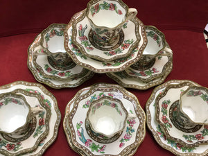 Coalport, England. Indian Tree, Multicoloured, Demitasse. ( 3pc set ) Antique