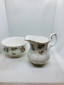 "Royal Albert. England. Cream and Sugar.  ""Winsome"".  Pink Roses"