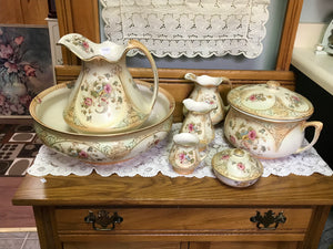 Crown Devon. England. Vanity Set, Antique, Porcelain -9pc. (IN STORE PICK UP ONLY
