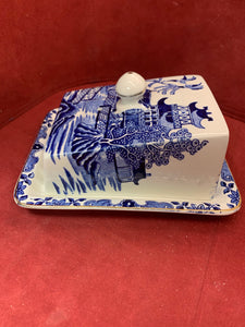 Burleigh Ware. Bursted- England.  Willow.  Blue and  White. Cheese Keeper