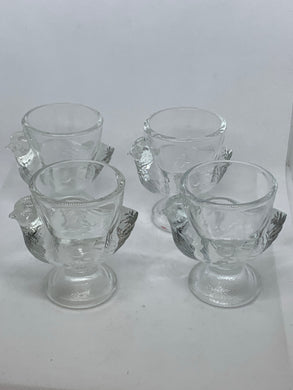 Egg Cups. France. Pressed Glass. Set of 4 Hens