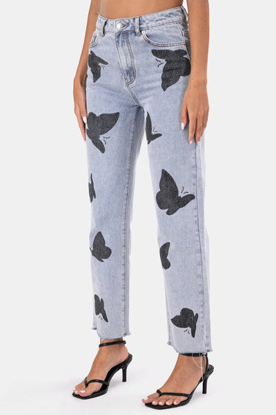 Butterfly Cropped Jeans | MOM