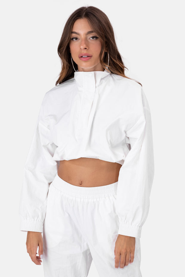 Icy Cropped Nylon Track Top
