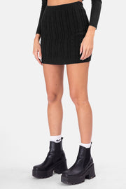Script Cable Knit Mini Skirt