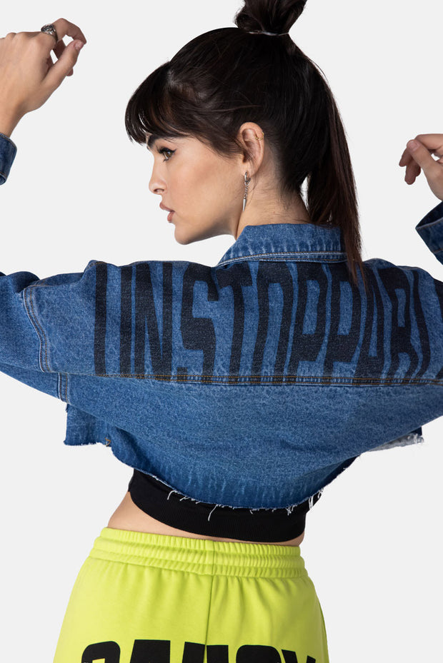 UNSTOPPABLE Cropped Denim Jacket