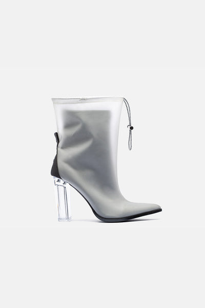 Polish Clear Heel Ankle Boots