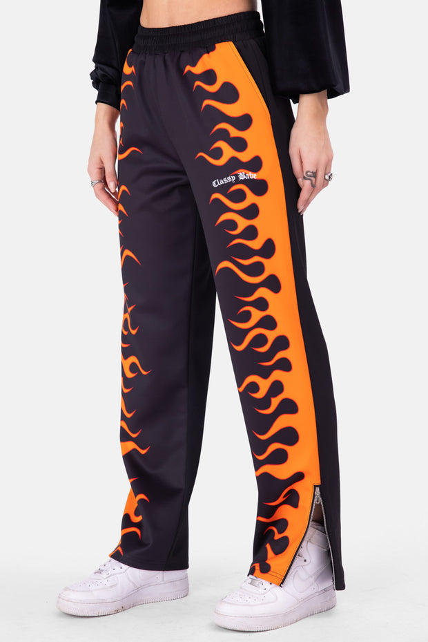 Flaming Zipper Hem Sweatpants