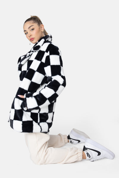 Checkers Faux-Fur Coat
