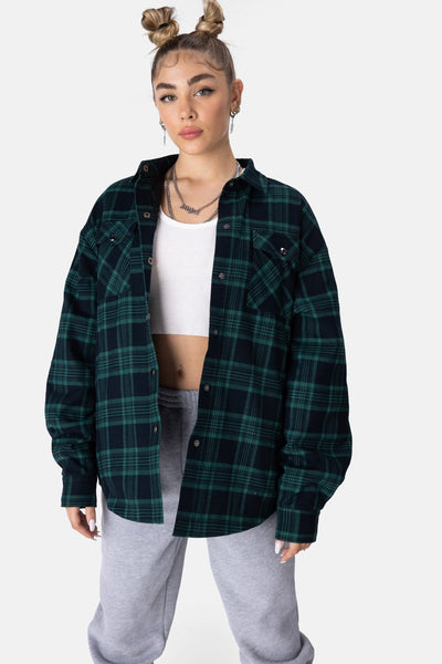 Cobain Oversized Plaid Jacket