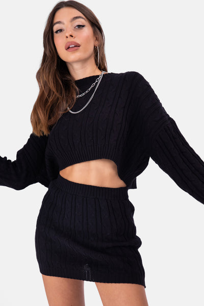 Script Cable Knit Cropped Sweater