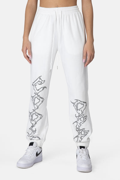 Flames Diamante Detail Sweatpants