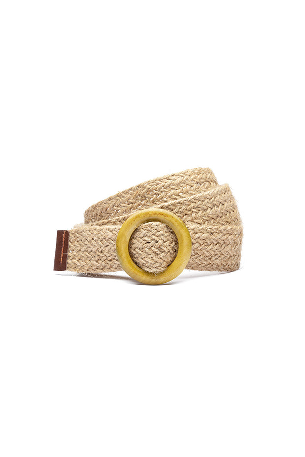 Woven Belt with Wooden buckle