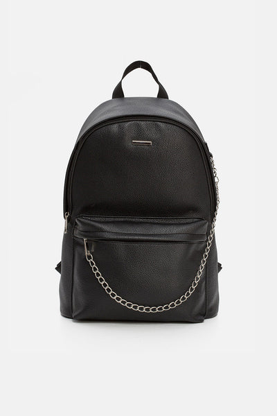 Chains Faux Leather Backpack