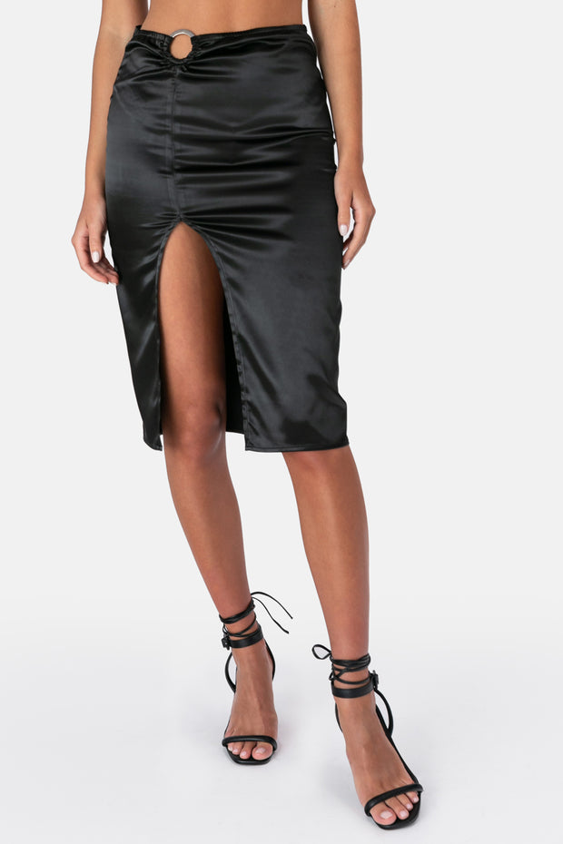Satin Midi Skirt with Front Hoop