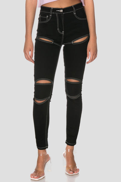 Sniper Cut Out Jeans | SKINNY
