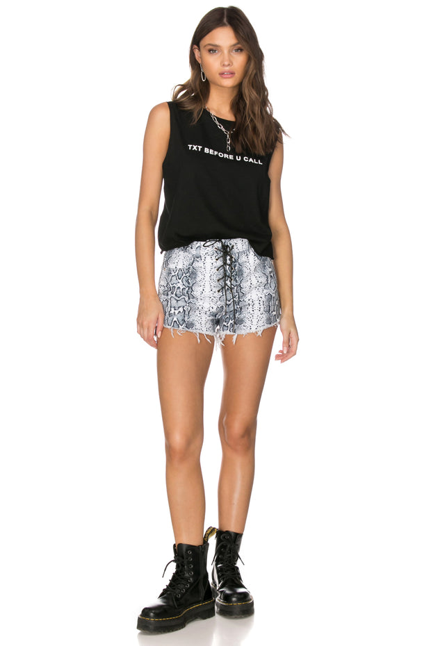 Kreiger Snake Print Denim Shorts
