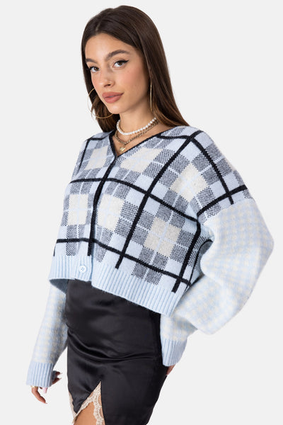 Grids Mixed Print Cropped Cardigan
