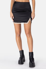 Raven Satin Finish Mini Skirt