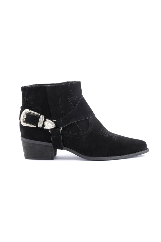 Faux Sude Booties with Metallic Buckle