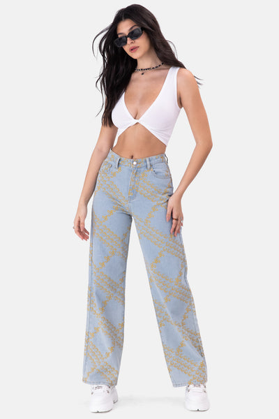 Marigold Printed Jeans | WIDE