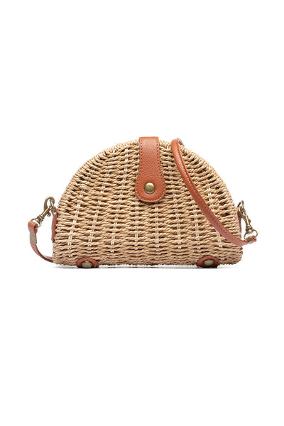 Fisher Straw Bag with Faux Leather